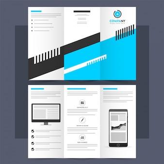 Folheto, modelo ou folheto corporativo profissional tri-fold.