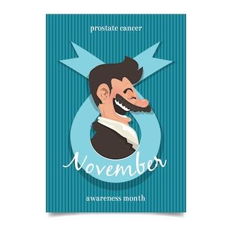 Folheto movember com vista lateral do homem sorridente