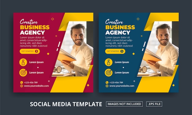 Folheto ou agência de marketing digital com tema de postagem em mídia social