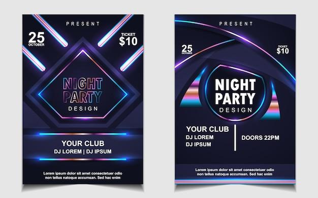 Folheto ou cartaz com música colorida de festa de dança noturna