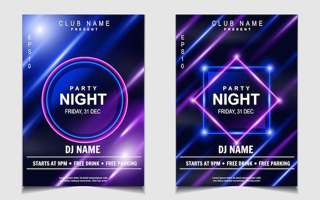 Folheto ou cartaz com música colorida para dançar à noite