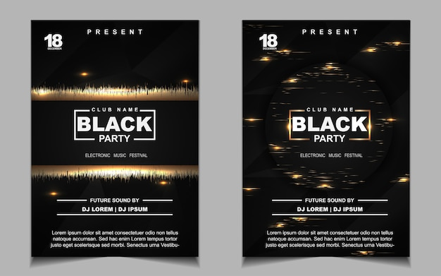 Folheto ou cartaz com música de festa dançante em preto e dourado à noite