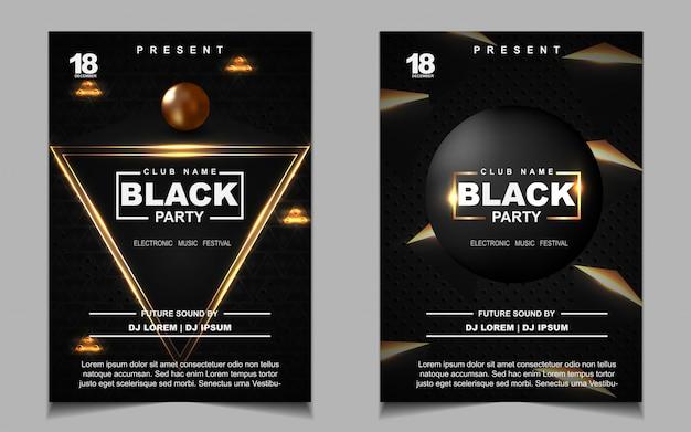 Folheto ou cartaz com música de festa dançante em preto e dourado