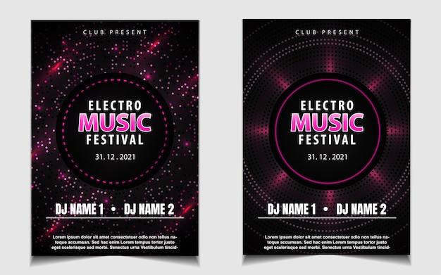 Folheto ou cartaz com música de festa dançante em preto e rosa
