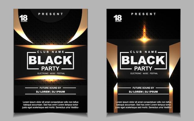 Folheto ou cartaz com música de festa dançante preta e dourada