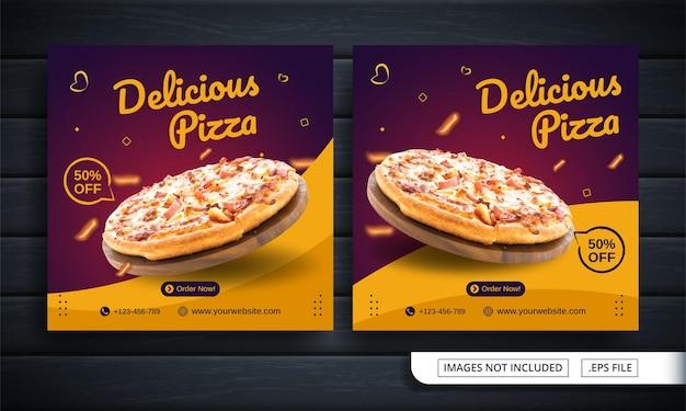 Folheto ou menu de comida com tema de postagem nas redes sociais