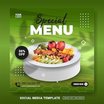 Folheto ou mídia social postar modelo de menu de comida especial com tema
