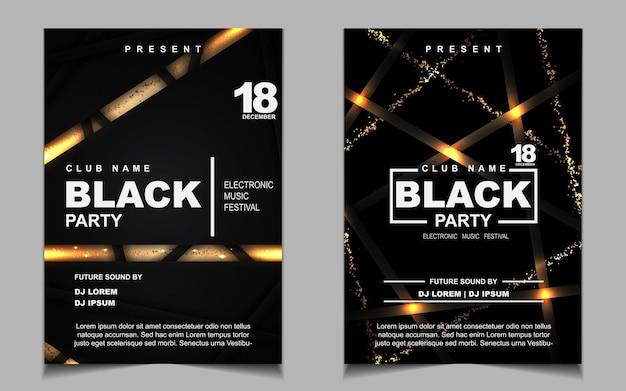 Folheto ou pôster com música de festa dançante à noite em preto e dourado