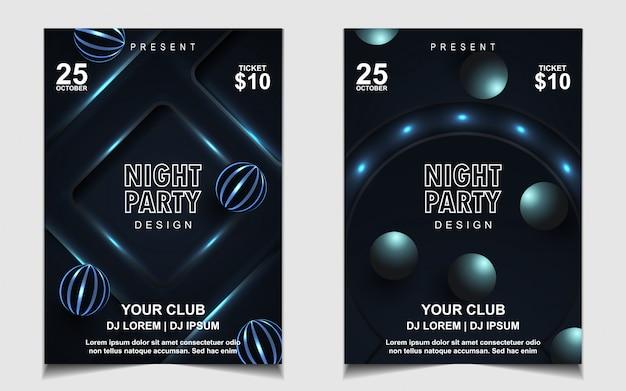 Folheto ou pôster elegante em azul escuro para dançar à noite