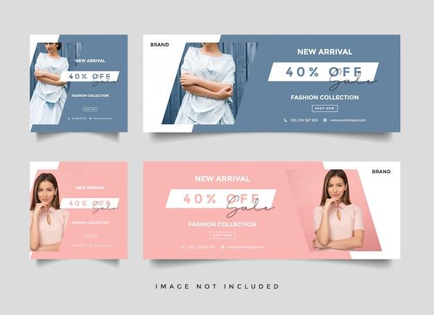 Folheto ou voucher de venda de moda