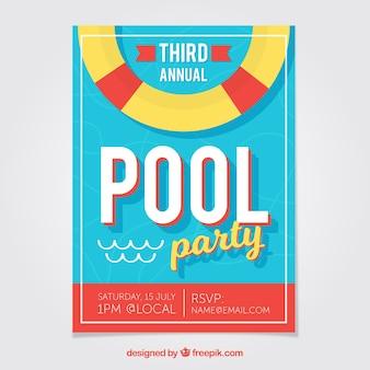Folheto plano da festa na piscina