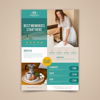 Folheto plano ilustrado com informações sobre o hotel
