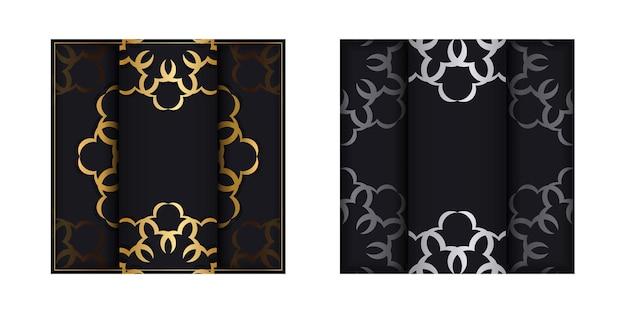 Folheto preto com ornamento vintage dourado