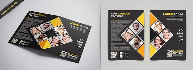 Folheto profissional de negócios amarelo e preto