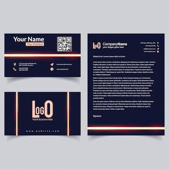 Folheto profissional e conjunto de cartões de visita com vetor de fundo escuro