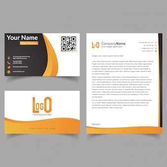 Folheto profissional e conjunto de cartões de visita com vetor de tema amarelo e preto