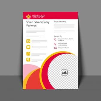 Folheto profissional em cor vermelha e amarela, folheto corporativo, relatório anual e modelo de capa para seu negócio.