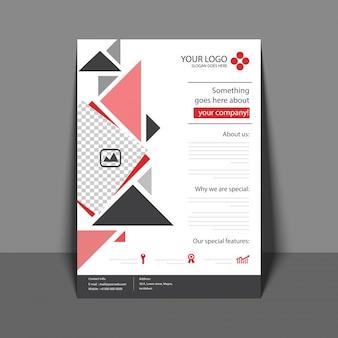 Folheto profissional em cor vermelha e cinza, folheto corporativo, relatório anual e modelo de capa para seu negócio.