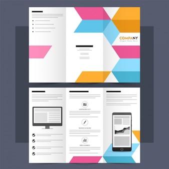 Folheto profissional tri-fold, design do folheto.