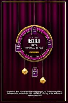 Folheto promocional de luxo de feliz ano novo 2021
