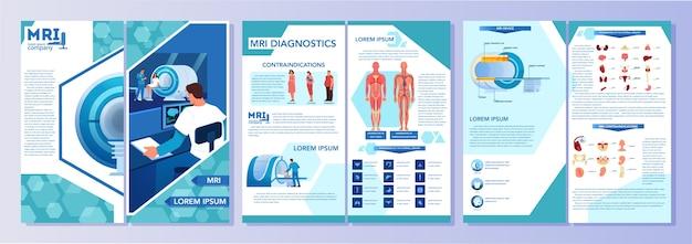 Folheto publicitário de ressonância magnética. pesquisa e diagnóstico médico. scanner tomográfico moderno. conceito de cuidados de saúde. livreto de ressonância magnética ou folheto com infográficos. ilustração