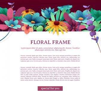 Folheto quadrado com lugar para o seu texto. quadro superior com flores, folhas, galhos e plantas.