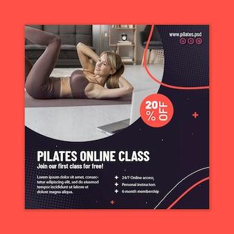 Folheto quadrado da aula online de pilates