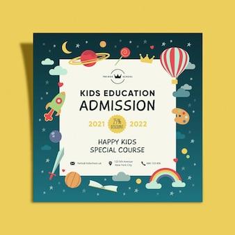 Folheto quadrado de admissão de educação infantil