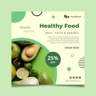 Folheto quadrado de alimentos bio e saudáveis