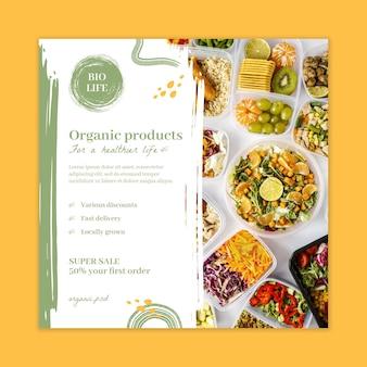 Folheto quadrado de alimentos bio e saudáveis Vetor grátis