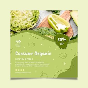 Folheto quadrado de alimentos biológicos e saudáveis