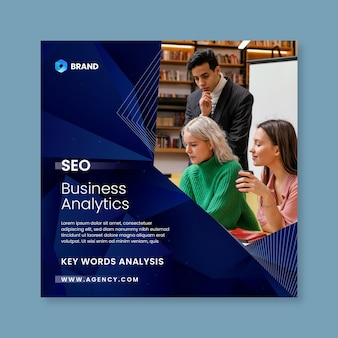Folheto quadrado de análise de negócios de seo