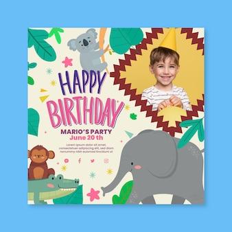 Folheto quadrado de aniversário infantil com animais selvagens
