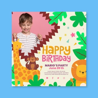 Folheto quadrado de aniversário infantil com animais