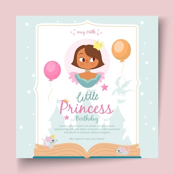 Folheto quadrado de aniversário infantil