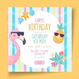 Folheto quadrado de aniversário infantil Vetor Premium
