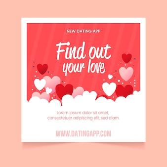 Folheto quadrado de app de namoro plano
