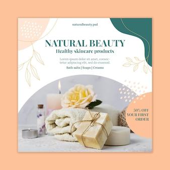 Folheto quadrado de beleza natural