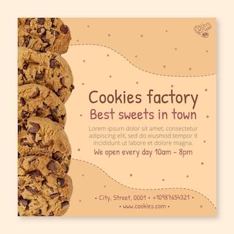 Folheto quadrado de biscoitos deliciosos