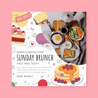 Folheto quadrado de brunch de domingo
