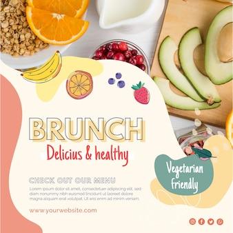 Folheto quadrado de brunch delicioso e saudável
