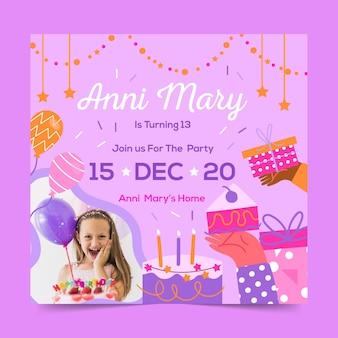 Folheto quadrado de celebração de aniversário