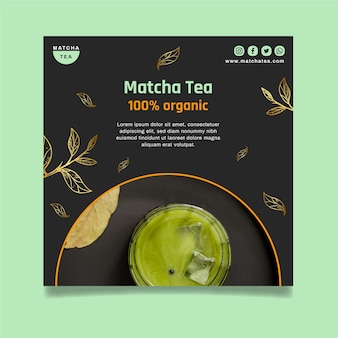 Folheto quadrado de chá matcha saboroso