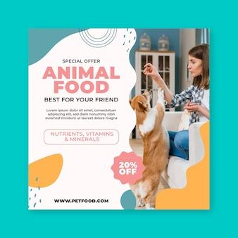 Folheto quadrado de comida animal