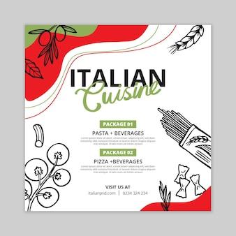 Folheto quadrado de comida italiana