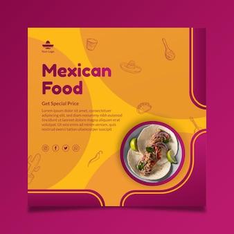 Folheto quadrado de comida mexicana