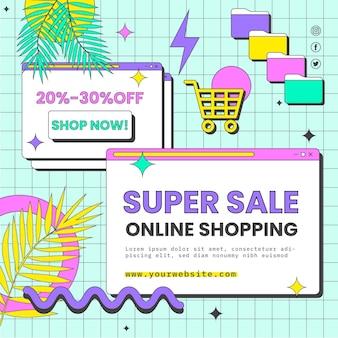 Folheto quadrado de compras online