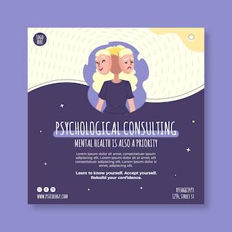 Folheto quadrado de consultoria psicológica