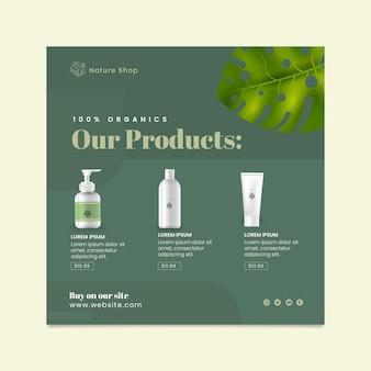 Folheto quadrado de cosmético orgânico