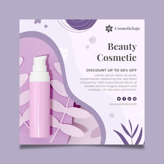 Folheto quadrado de cosméticos de beleza